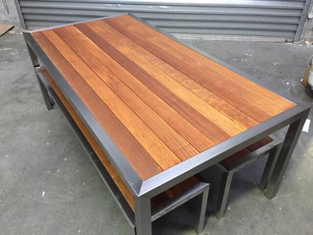 Stainless Steel Outdoor Table With Bench Seats Dining