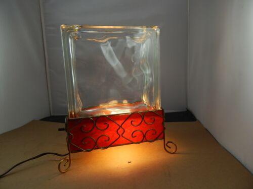 unusual Kitschy Mid-Century GLASS BLOCK AQUARIUM TELEVISION LAMP