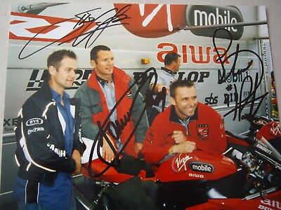Virgin Mobile (Virgin Mobile Yamaha race team A4 photo signed by Plater, Crafar & Whitham)