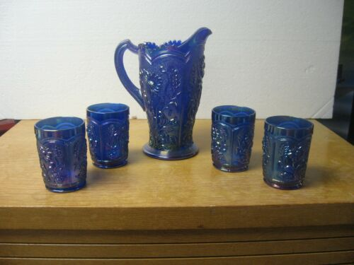 Lenox Imperial Blue Carnival Glass Pitcher & 4 Tumblers