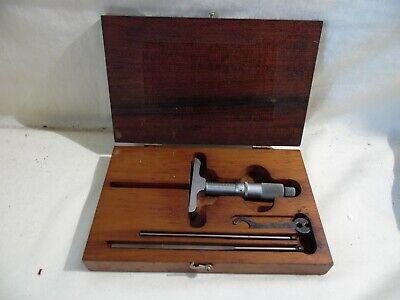 Vintage Geo Scherr Co. Micrometer Depth Gauge 4 Pc W Starrett Wooden Case Usa