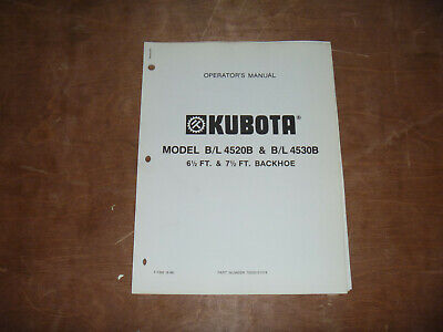 Kubota Bl 4520b Bl 4530b Backhoe Owner Operator Maintenance Manual User Guide