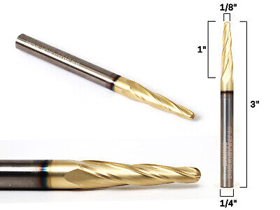 18 Tapered Ballnose Zrn Coated Cnc Router Bit - 14 Shank - Yonico 37413-sc