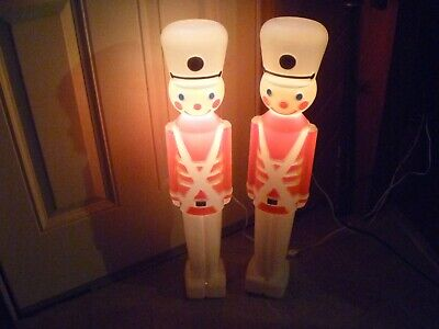 "Vintage Lighted Toys Soldier Blow Molds 30"" Tall Christmas White Hats Lot of 2"