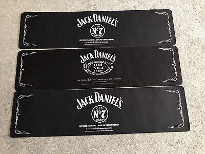 """3 X Jack Daniels Rubber Bar Runner 32"""" X 8.5"""" Ideal For Home Bar Or Man Cave"""