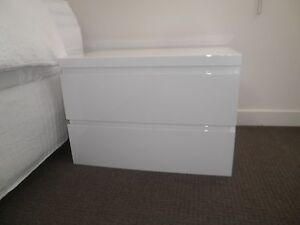 White High-Gloss 2-Drawer Bedside Tables Eatons Hill Pine Rivers Area Preview
