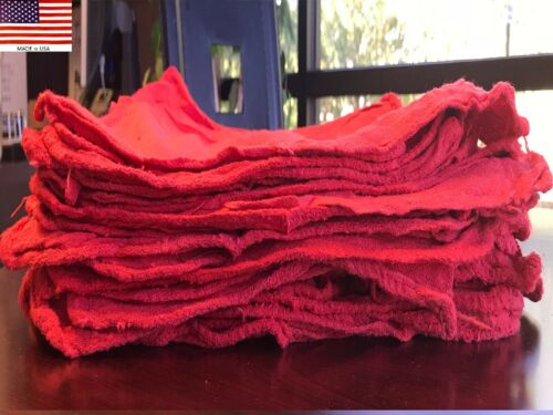 200 PACK NEW INDUSTRIAL RED SHOP RAGS TOWELS (USA PRODUCT)