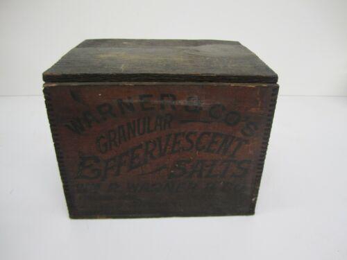 Antique William R Warner Wooden Dovetail Box Crate Quack Medicine Advertising