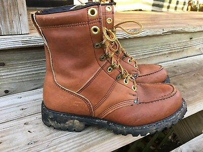 Double H brown leather steel toe HH safety workboots men size 8