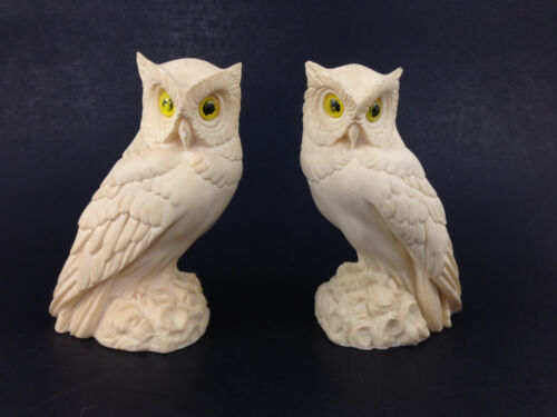 Pair Vintage White Alabaster Horned Owl Figurine A. Gionnelli Made in Italy 5""