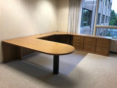 Executive U-shape Desk By Darran Office Furniture In Med Oak Finish Wood