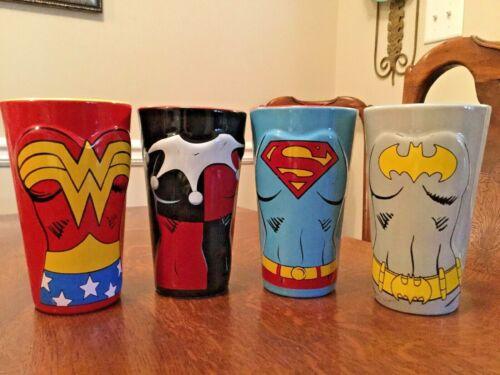DC Comics Superhero Women of DC Molded Ceramic Pint Glass Set of 4