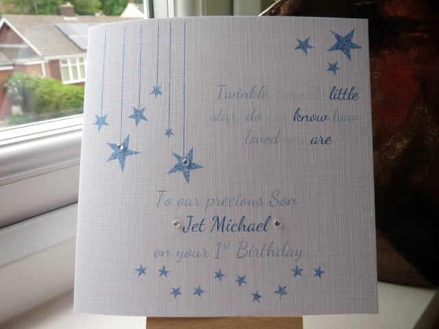 Handmade personalised 1st birthday card son grandson boys 2 3 handmade personalised 1st birthday card son grandson boys 2 3 twinkle twinkle bookmarktalkfo Image collections