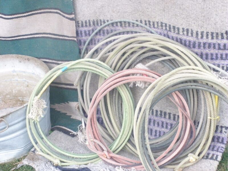 10 Used Lariat, Team Ropes in assorted colors, lengths and lays.