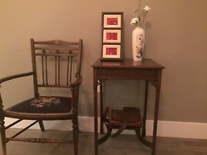 Antique vantage solid wood chair and matching table