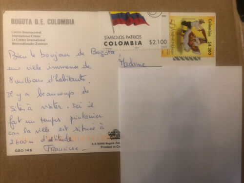 Briefmarken Kolumbien Gelaufene Postkarte