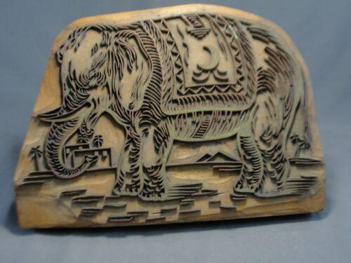 Rare Figural Antique Wood Copper Fabric Wallpaper Printing Block Stamp Elephant