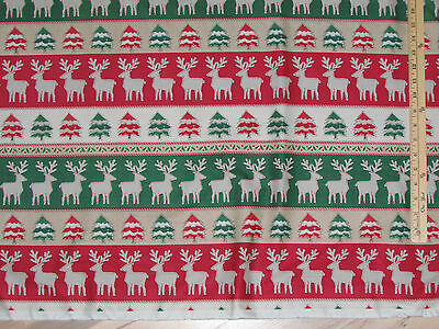 Craft Paper Christmas Reindeer Stripe Windham Fabric  by the 1/2 Yard  #41496 Fabric Craft Papers