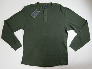 Roundtree & Yorke Weathered Casuals Mens Green Henley Knit Waffle Shirt SZ XL