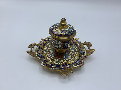 ANTIQUE FRENCH CHAMPLEVE? Brass Enamel Cloisonné INKSTAND Ink Well