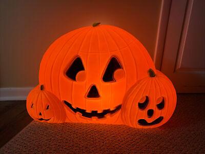 Vintage Halloween Trio Of Pumpkins Jack-O-Lantern Blow Mold Don Featherstone