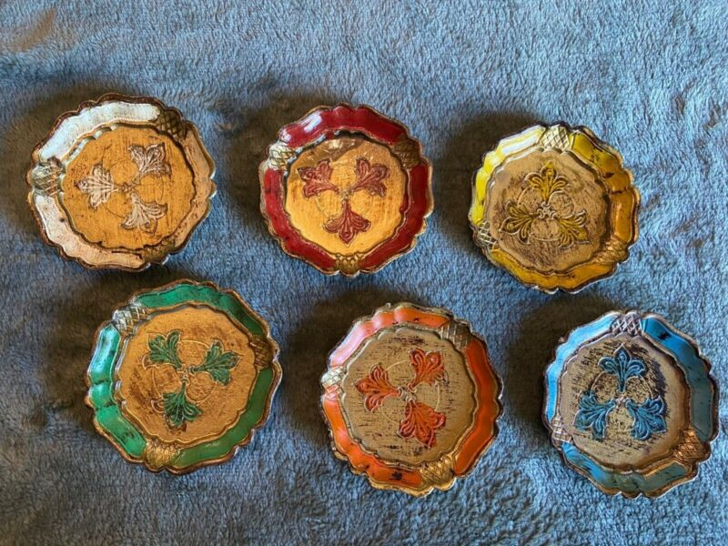 Vintage 5 Painted Round Wood Florentine Coasters - Italy (Free shipping)