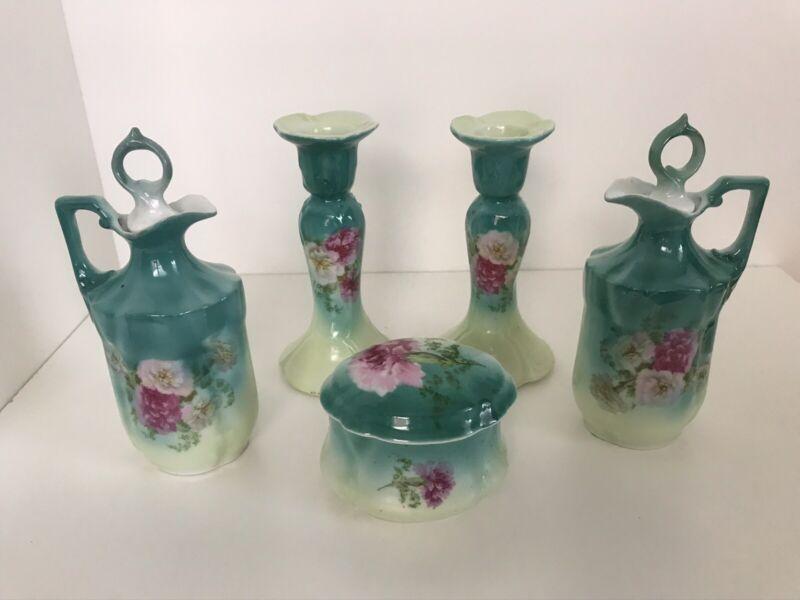 Antique Teal Porcelain Dresser Set 5 Piece Roses? Peonies?