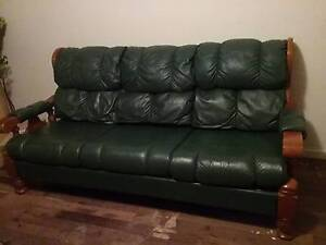 GENUINE LEATHER & TIMBER LOUNGE SUITE (GREEN) $500 NEGOTIABLE Toodyay Toodyay Area Preview