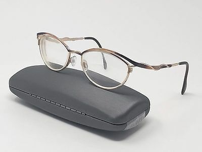 Cazal Eyeglass Frames Gold Brown Metal Full Rim Cat's Eye 53[]17-140