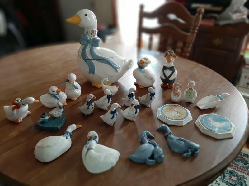 Vintage Country Geese Goose Duck blue ribbon cookie jar ,ceramic figurines, misc