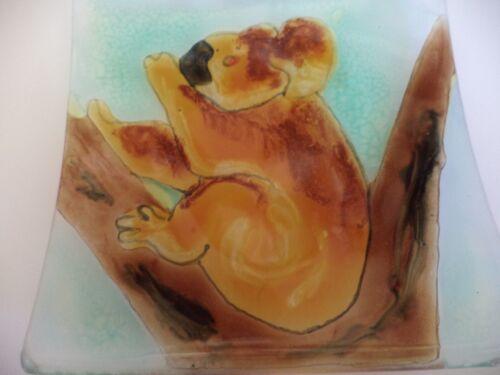 "4"" TRISH LOCKYER OZ BUSH ART FUSED GLASS KOALA BEAR TRINKET SOAP DISH, WALL TILE"