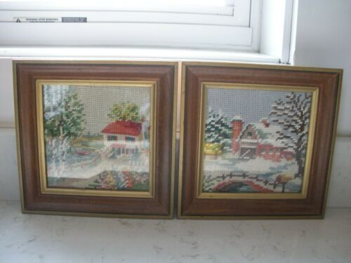 2 vintage small finished needlepoint pictures framed  winter cottage barn Retro