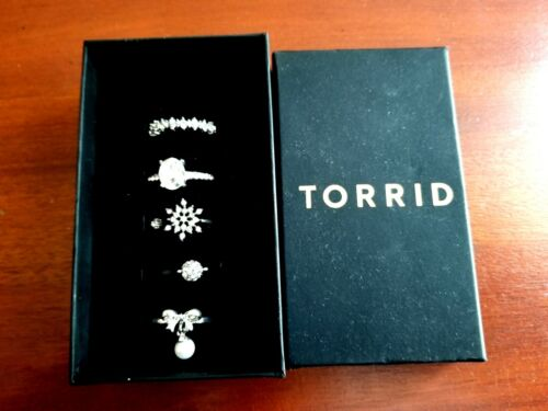 New Silver Rhinestone Torrid Ring Set Of 5 Size 9