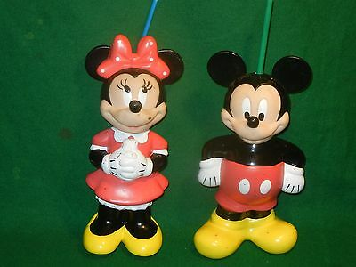 vintage Mickey & Minnie Mouse drink bottles for straws