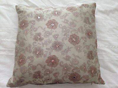 Small Green/Pink Scatter Cushion - Square Patterned Floral 35cm - bedroom/lounge