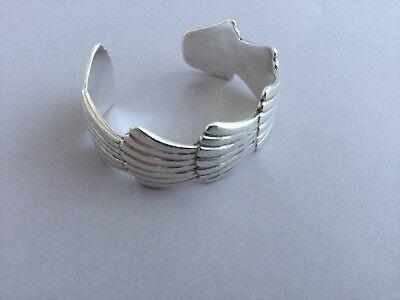 Vintage WHITE HOGAN Mike Carroll Sterling Silver Cuff Bracelet Navajo Artist
