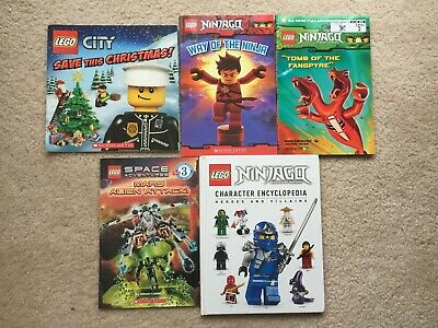 Lot of 5 Lego Books, Ninjago, Character Encyclopedia, Space Adventures, City