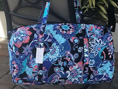 VERA BRADLEY LARGE TRAVELER DUFFEL BAG LOTUS FLOWER SWIRL OVERNIGHT TOTE -