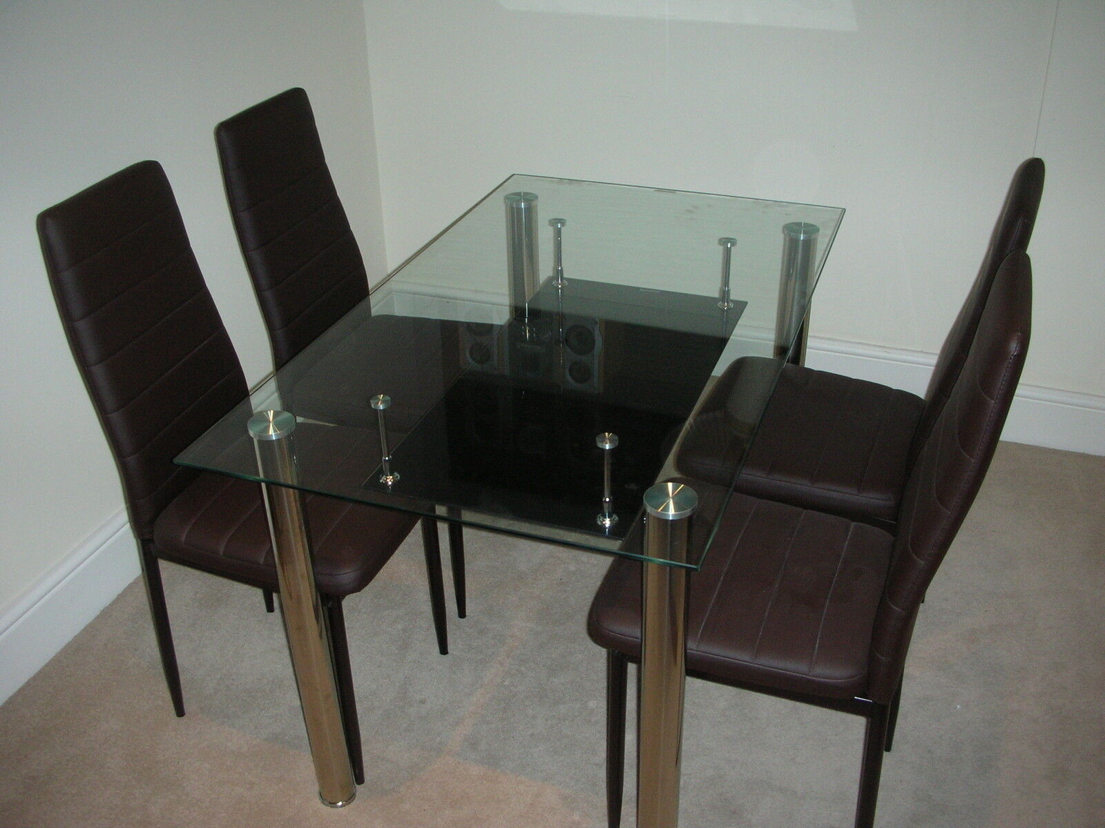 glass dining kitchen table set faux leather 4 6 chairs furniture black