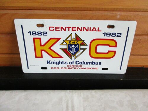 1882 - 1982 Knights of Columbus Centennial Licence Plate Metal - God Country