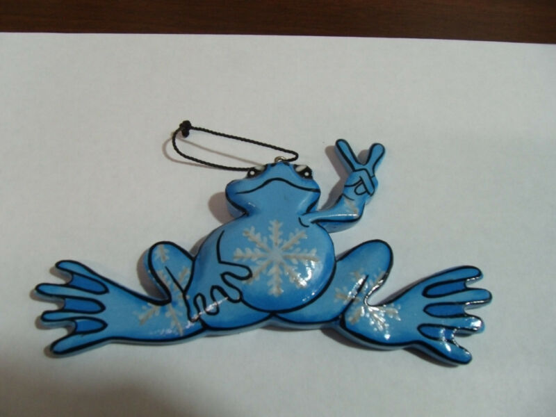 NEW PEACE FROGS SNOWFLAKE FROG ORNAMENT