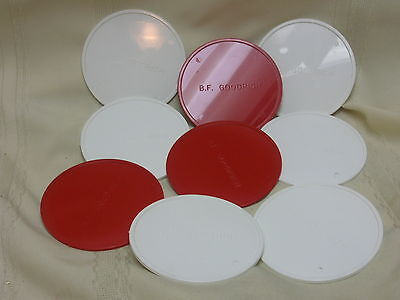 9 Vintage Drink Coasters from B. F. Goodrich Hard Plastic White & Red