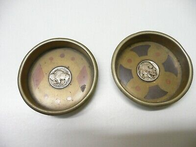 2 x North American pin dishes featuring a North American Indian coin inlaid