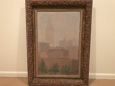 Antique Impressionist Cityscape Oil Painting New York City c 1930s