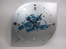 Analog Hanging Wall Clock Quartz Silver Blue Cyclist Modern Steampunk Themed