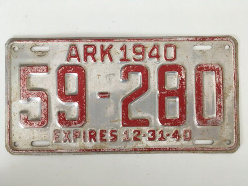 1940 Arkansas License Plate All Original Paint (aluminum)
