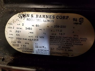 JOHN S BARNES HYDRAULIC PUMP 2HP 208-230V 3450RPM 1Phase