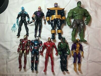 Marvel Legends 9 Figure Lot: Hawkeye, Thanos, Hulk, Iron Man, Drax, Electro+more