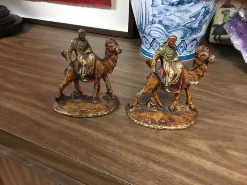 ANTIQUE CAST IRON  ARAB On camel BOOKENDs #418