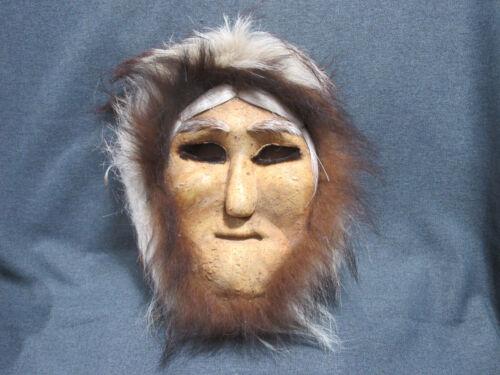 Vintage Alaskan Eskimo signed Anaturik Susie Paneak Caribou Hide Mask